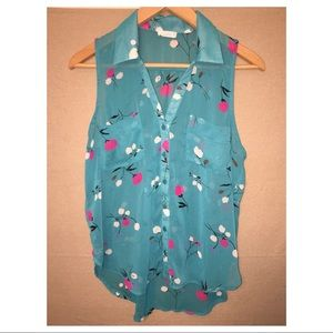 Lush Turquoise floral Button Tank Top Blouse